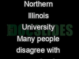 Disagreement Geo Pynn Northern Illinois University Many people disagree with you about many things