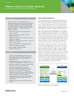 DATASHEET   DATASHEET What is Disaster Recovery vCloud Air Disaster Recovery is a new RaaS oering owned and operated by VMware built on vSphere Replication and vCloud Air  a hybrid cloud platform for