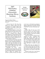 Prepared by Michael Widner AGFC Turkey Program Coordinator During and