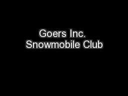 Goers Inc. Snowmobile Club