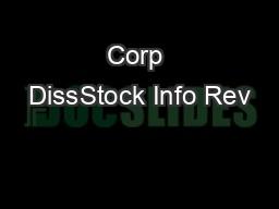 Corp DissStock Info Rev