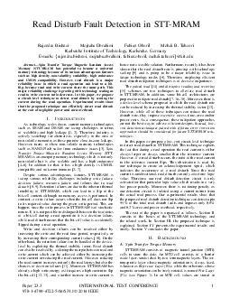 Read Disturb Fault Detection in STTMRAM Rajendra Bishnoi Mojtaba Ebrahimi Fabian Oboril Mehdi B