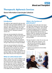 Therapeutic Apheresis ServicesIntroductionThis leaflet has been prepar