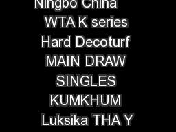 Ningbo China      WTA K series Hard Decoturf MAIN DRAW SINGLES KUMKHUM Luksika THA Y