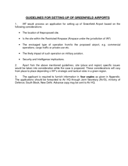 GUIDELINES FOR SETTING UP OF GREENFIELD AIRPORTS