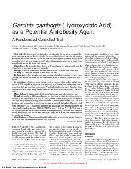 Garcinia cambogia (Hydroxycitric Acid) as a Potential Antiobesity Agent PDF document - DocSlides