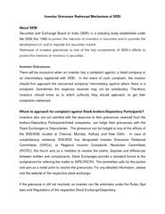 Grievance Redressal Mechanism at SEBI