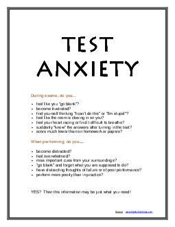 TEST TEST TEST TEST ANXIETY ANXIETY ANXIETY ANXIETY During exams do you