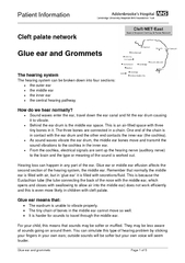 Patient Information     Glue ear and grommets  Page 1 of 5