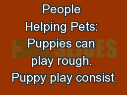 Caring People Helping Pets: Puppies can play rough. Puppy play consist