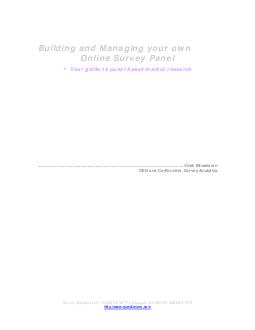 Building and Managing your own Online Survey Panel - Your guide to panel based market research   PDF document - DocSlides