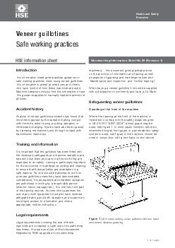Woodworking Information Sheet No 20 (Revision 1)