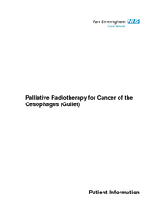 Palliative Radiotherapy for Cancer of the Oesophagus (Gullet)