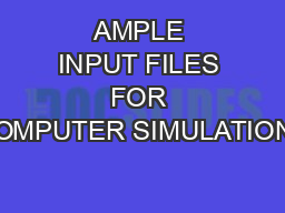 AMPLE INPUT FILES FOR COMPUTER SIMULATIONS