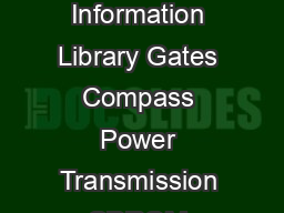 GatesFacts Technical Information Library Gates Compass Power Transmission CDROM version