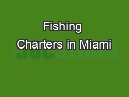 Fishing Charters in Miami