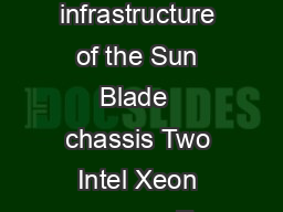 ORACLE DATA SHEET KEY FEATURES everages the power cooling and IO infrastructure of the Sun Blade  chassis Two Intel Xeon processor E  v product family CPUs Twenty four DIMM slots Two PCI Express PCIe