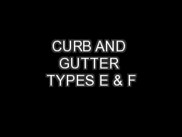 Curb And Gutter Types E Amp F Pdf Document Docslides