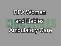 RPA Women and Babies Ambulatory Care PowerPoint PPT Presentation