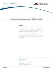 Software Fault Isolation using HALT and HASS