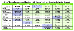 City of Tucson Environmental Services  Holiday Trash and Recycling Collection Sc